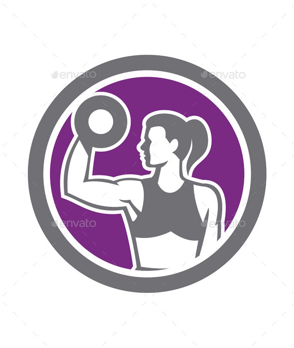 GraphicRiver Woman Lifting Dumbbell Weight Retro 9290926