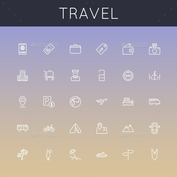 GraphicRiver Vector Travel Line Icons 9290949