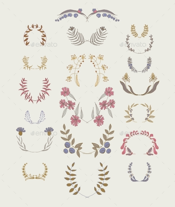 Set of Symmetrical Floral Graphic Design Elements