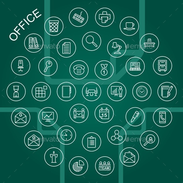 GraphicRiver Vector Line Icons Office 9290965