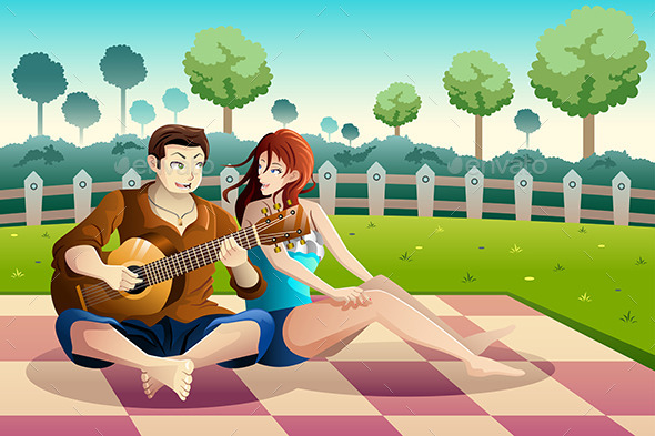 GraphicRiver Couple Playing Guitar Together in a Park 9291096