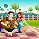 Couple Playing Guitar Together in a Park - GraphicRiver Item for Sale