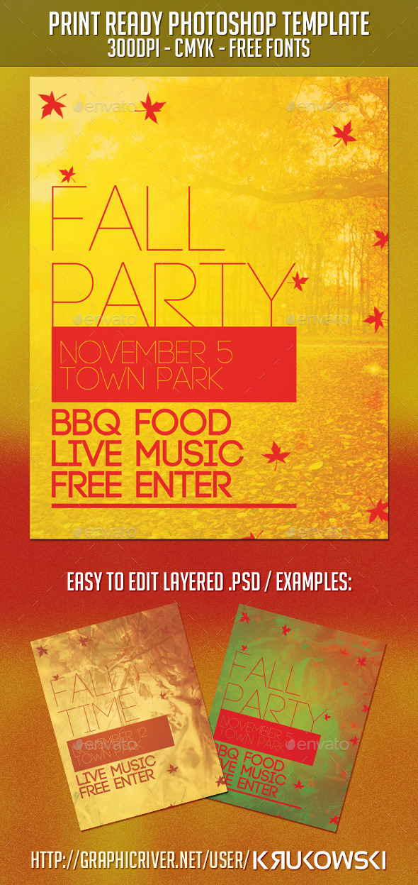 GraphicRiver Fall Party Flyer 9291298