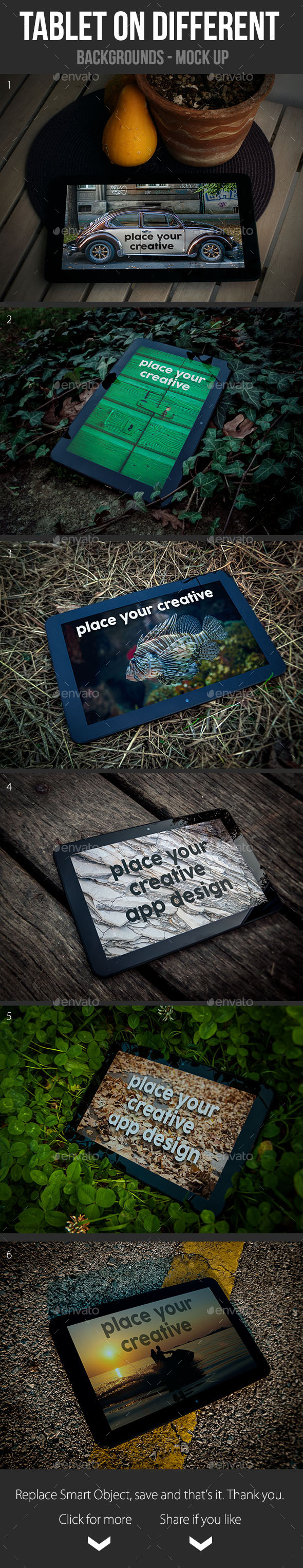 GraphicRiver Tablet on Different Backgrounds Mock Up 9264677