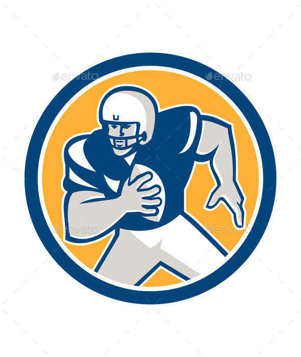 GraphicRiver American Football QB Player Running Circle Retro 9291605