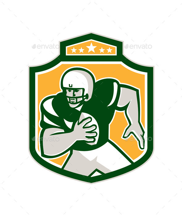 GraphicRiver American Football QB Player Running Shield Retro 9291609