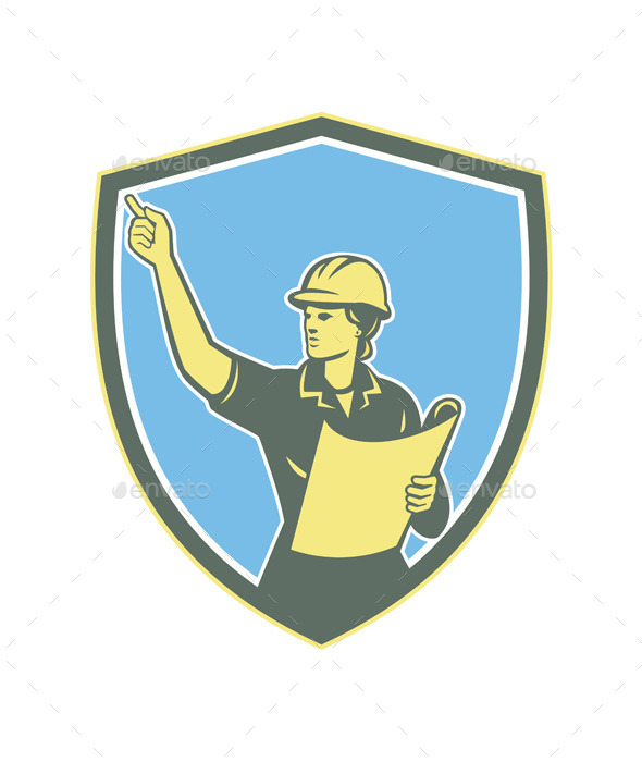 GraphicRiver Female Construction Worker Engineer Shield Retro 9291652