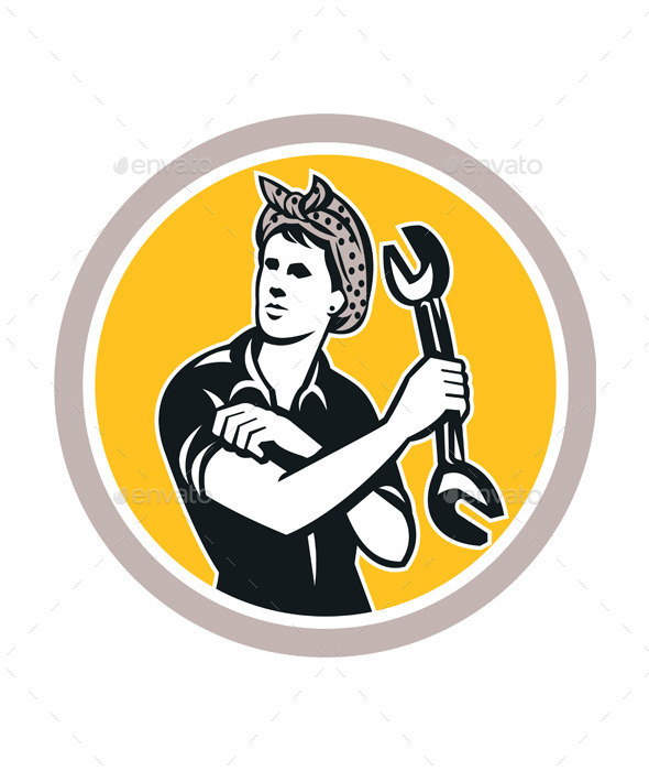 GraphicRiver Female Mechanic Wrench Circle Retro 9291665