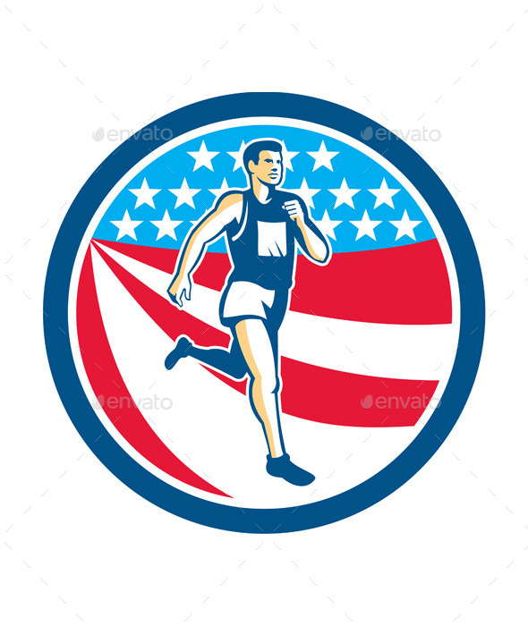 GraphicRiver American Marathon Runner Running Circle Retro 9291709