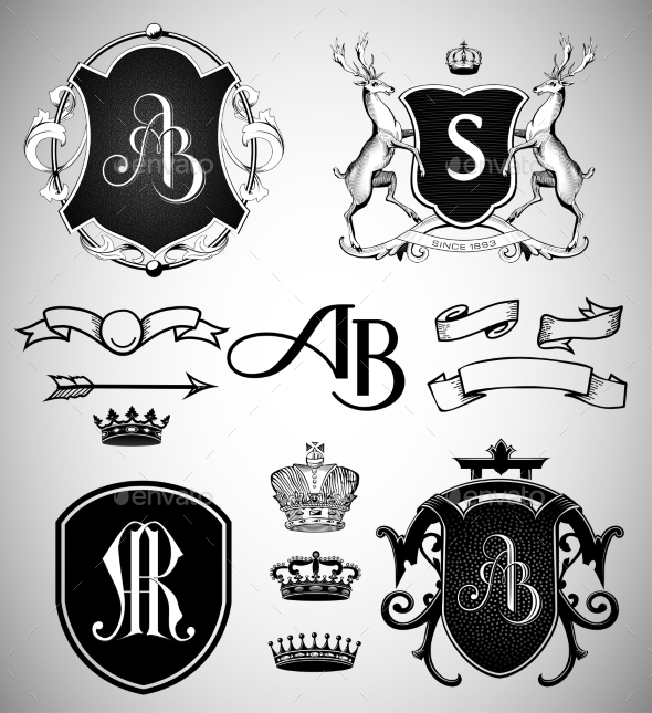 GraphicRiver Vintage Crests Ribbons Monograms and Crowns 9291783
