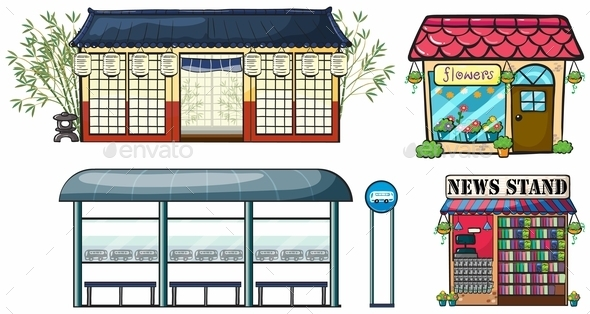 GraphicRiver Various Shops and a Bus Station 9291964