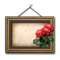 Vintage picture frame and a bouquet of red roses - PhotoDune Item for Sale