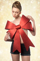 woman with big christmas bow - PhotoDune Item for Sale