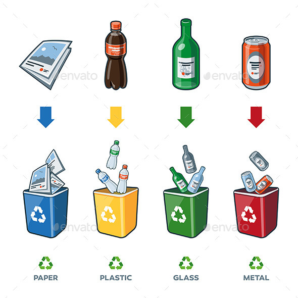 GraphicRiver Recycling Bins for Paper Plastic Glass Metal Trash 9292779