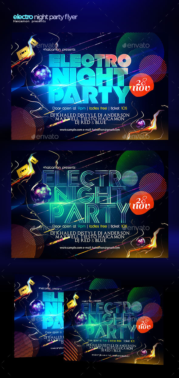 GraphicRiver Electro Night Party Flyer 9292940