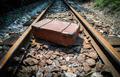 Vintage suitcase on railway road - PhotoDune Item for Sale