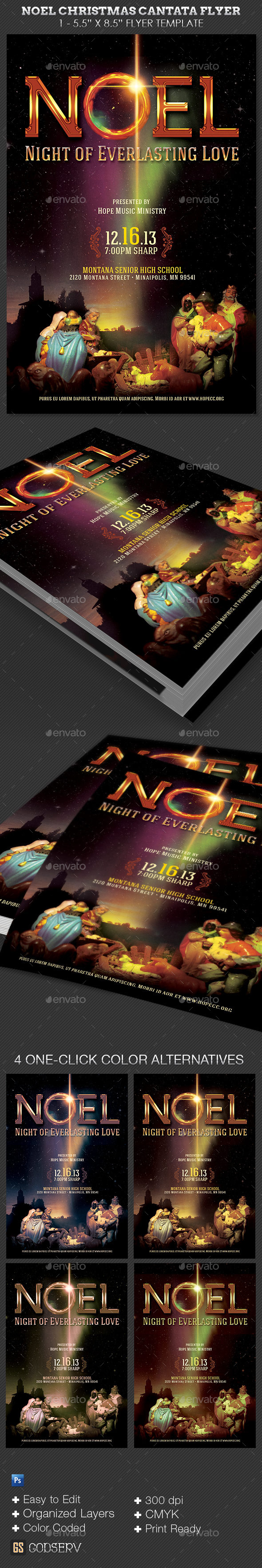 Noel Christmas Cantata Flyer Template
