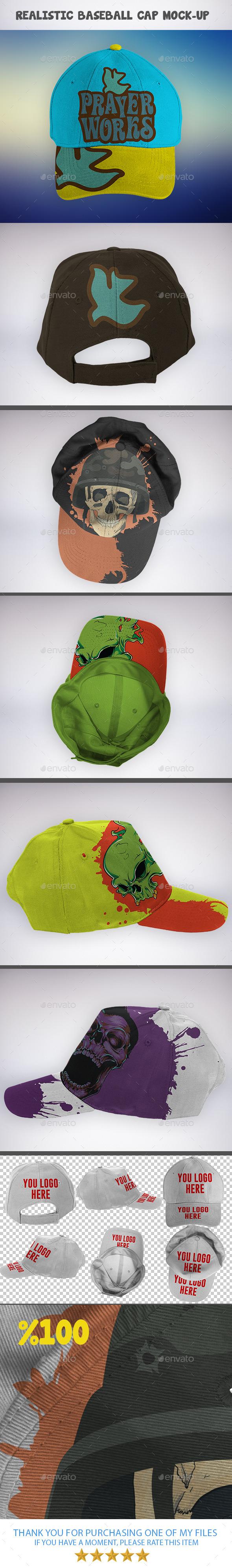 GraphicRiver Realistic Baseball Cap Mock-Ups 9294175