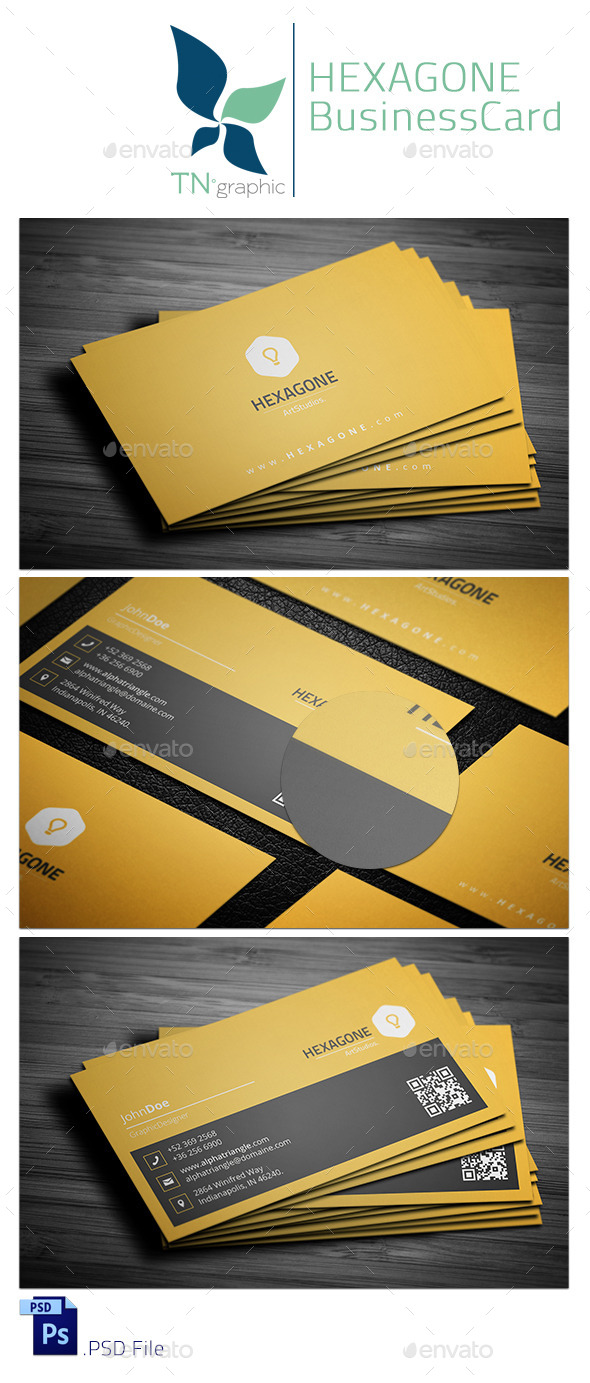 GraphicRiver Hexagone Business Card 9266983