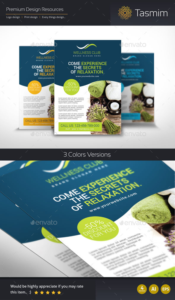 GraphicRiver Wellness Club Flyer Template 9294255