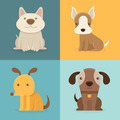Set of cartoon dogs in flat style - PhotoDune Item for Sale