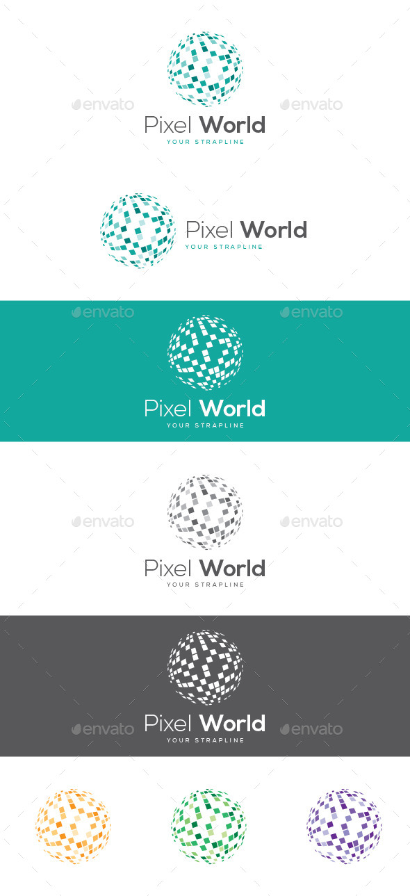 GraphicRiver Pixel World Logo 9294411
