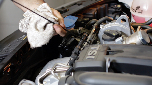 VideoHive Car Repair Mechanic Checking the Oil Level 9294946