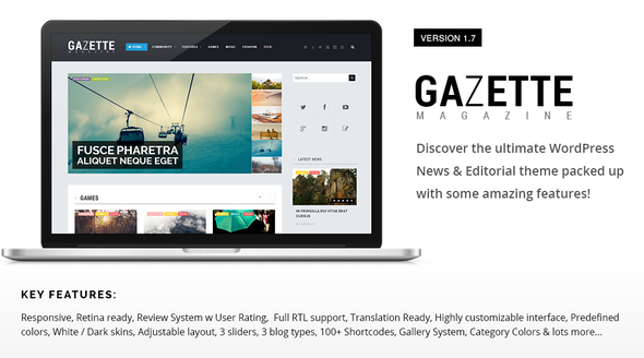Gazette Magazine - WordPress Community Theme - News / Editorial Blog / Magazine