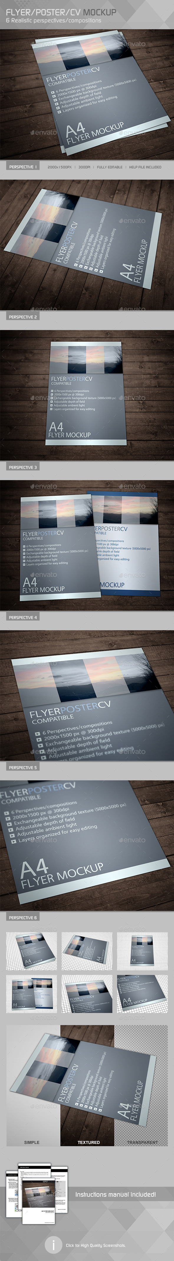 Realistic Flyer Poster Mockup