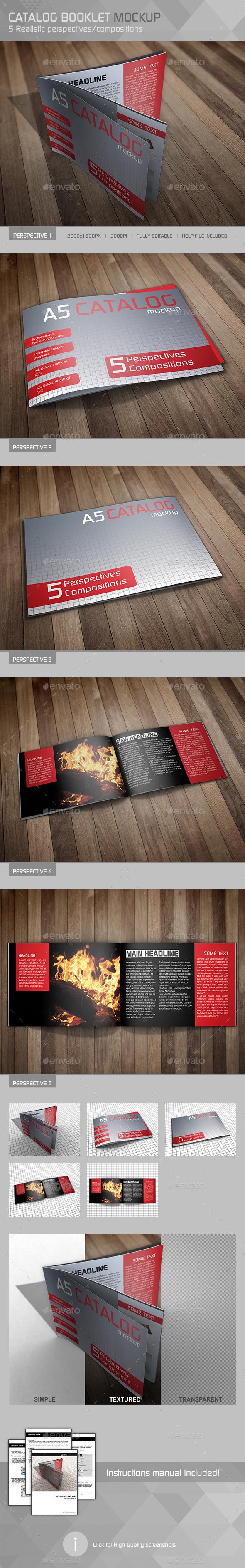 Realistic A5 Catalog Mockup