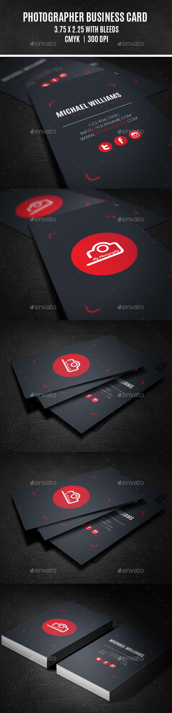 GraphicRiver Photographer Business Card 9296111