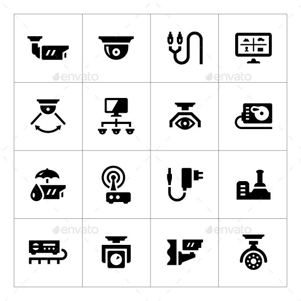 GraphicRiver Set Icons of Video Surveillance 9296346