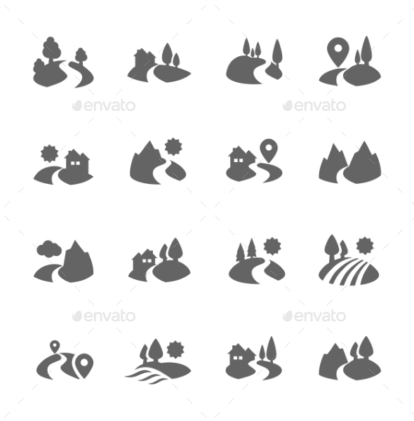 GraphicRiver Land Icons 9296353