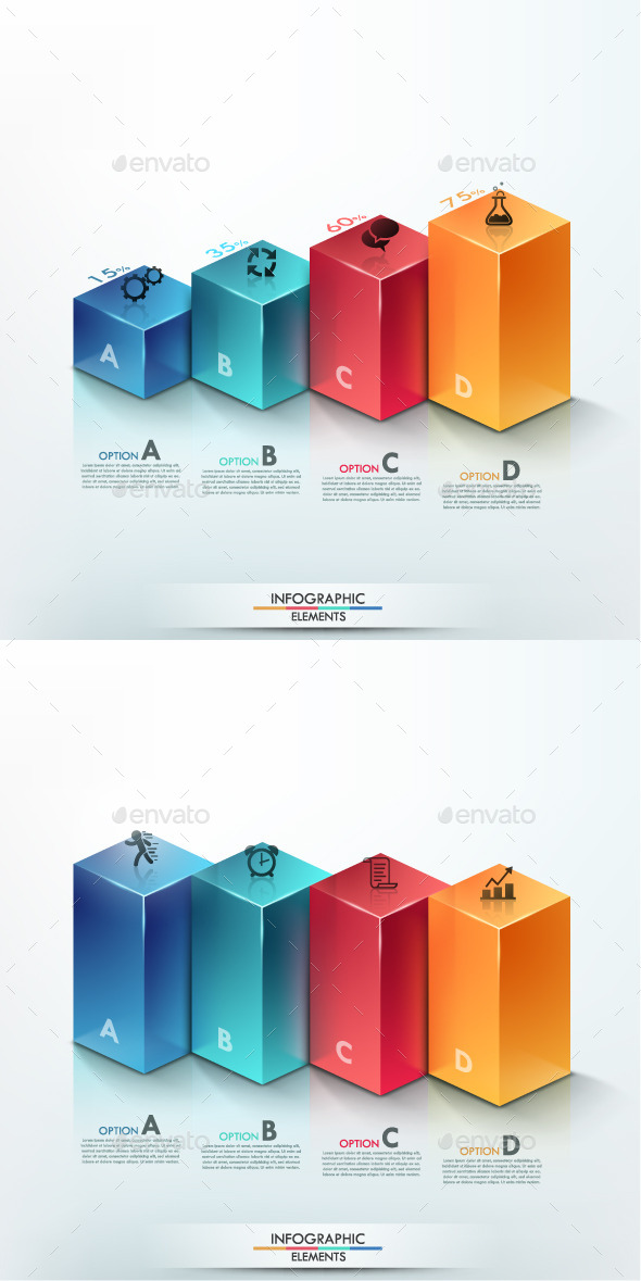 3D Modern Infographic Options Banner 2 Items