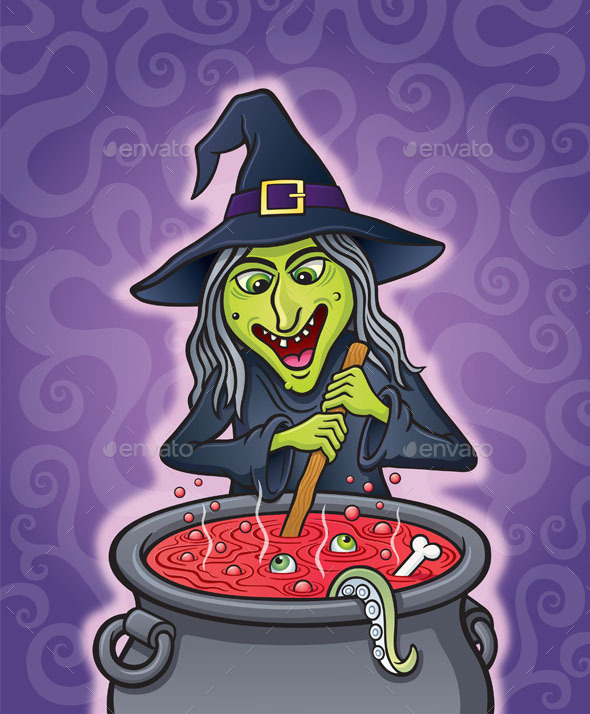 GraphicRiver Wicked Witch Brewing in Cauldron 9296779