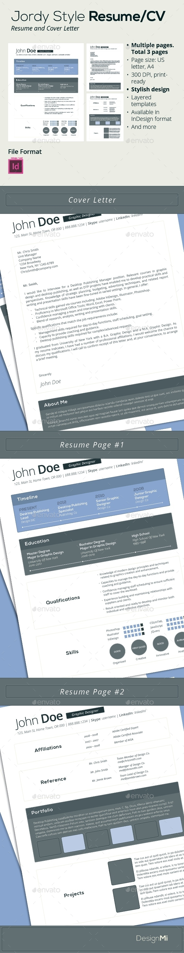 GraphicRiver Jordy Style Resume CV 3 pages 9266994
