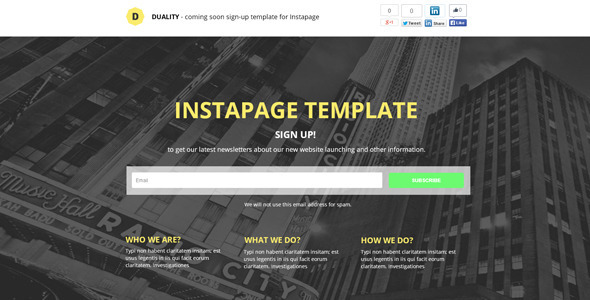 ThemeForest Duality Instapage Sign-Up Template 9297015