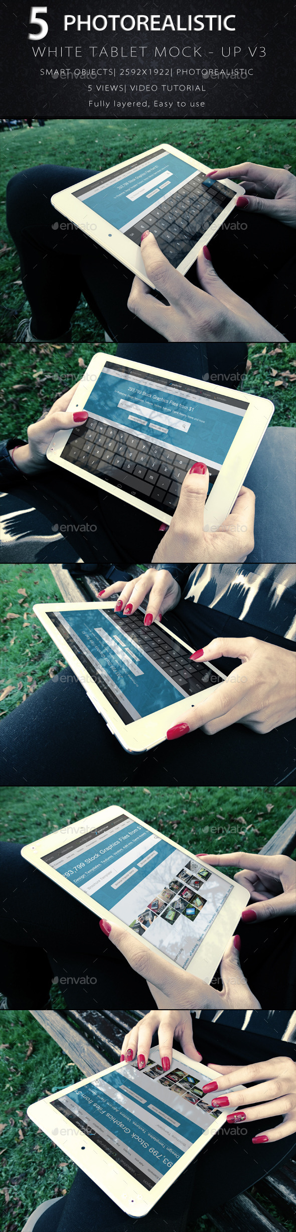 GraphicRiver Photorealistic Tablet With Female Hands Mock-Up V3 9265790