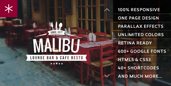 ThemeForest Malibu One Page Lounge Bar & Cafe Resto WP Theme 8332937