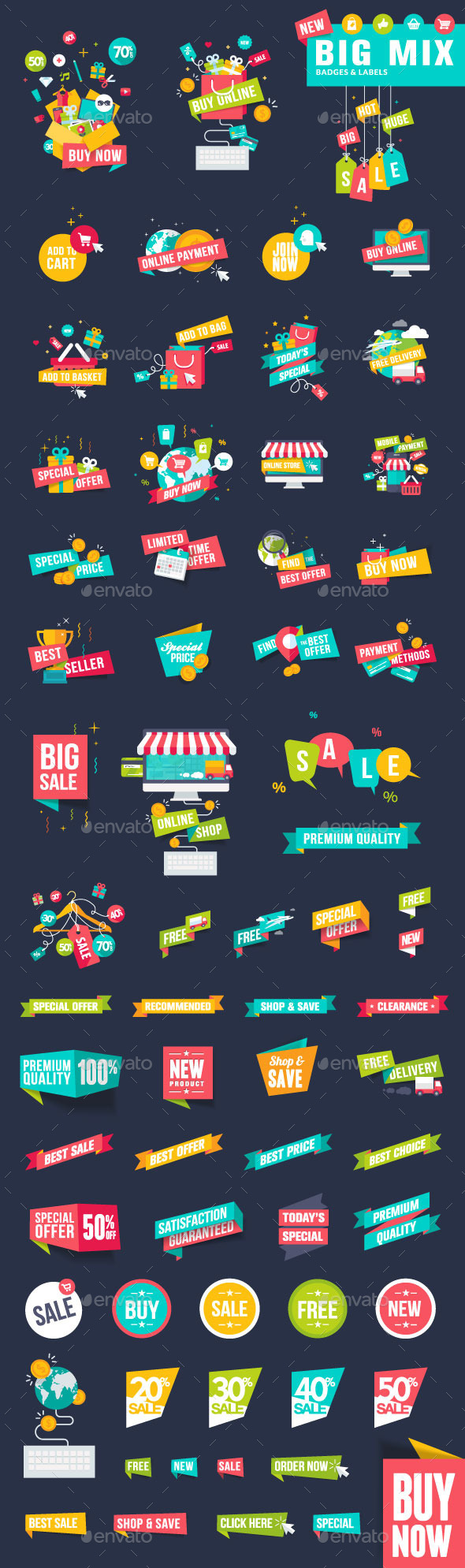 Flat Design Badges and Labels for Shopping