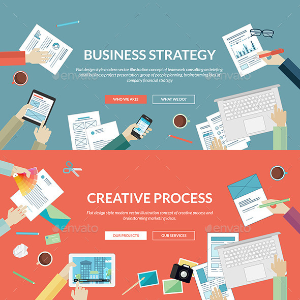 GraphicRiver Flat Concepts for Business and Creative Process 9256961