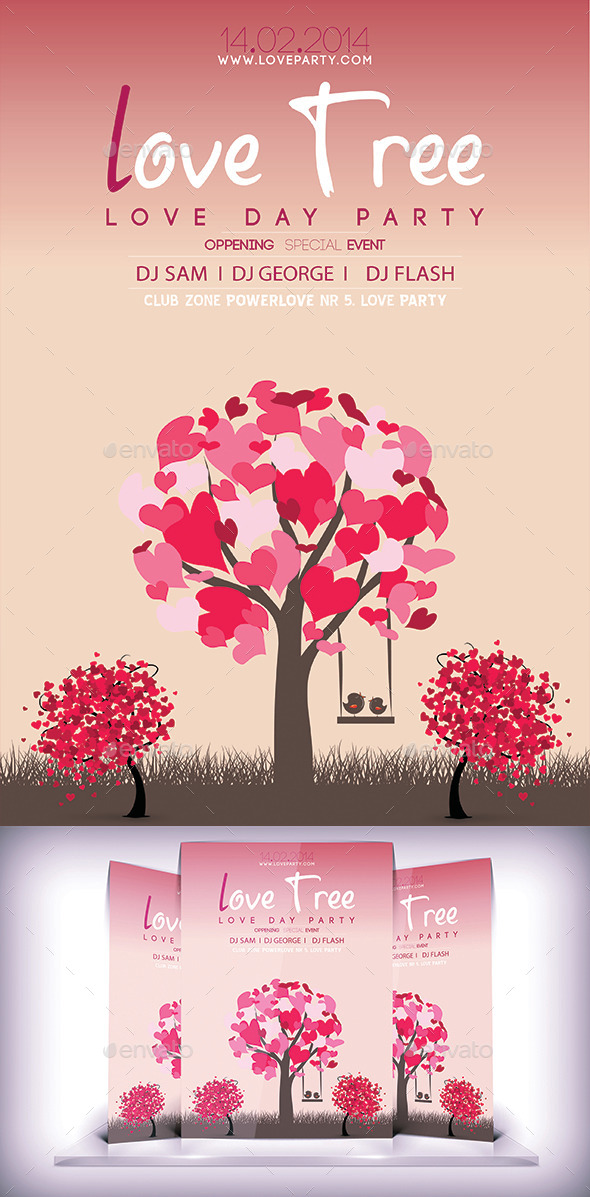 GraphicRiver Love Tree Flyer 9297802