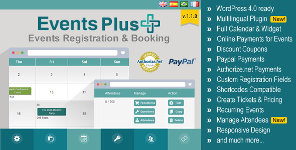 Events Plus allows you to easily create and manage your events online through WordPress admin interface. Allow visitors to register and pay online for events, m
