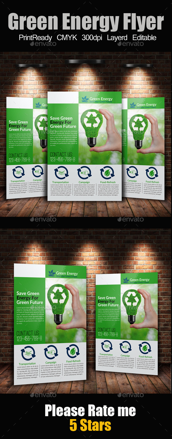 GraphicRiver A4 Green Energy Flyer 9298054