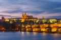 Prague Castle and Charles Bridge at sundown, Czech Republic - PhotoDune Item for Sale