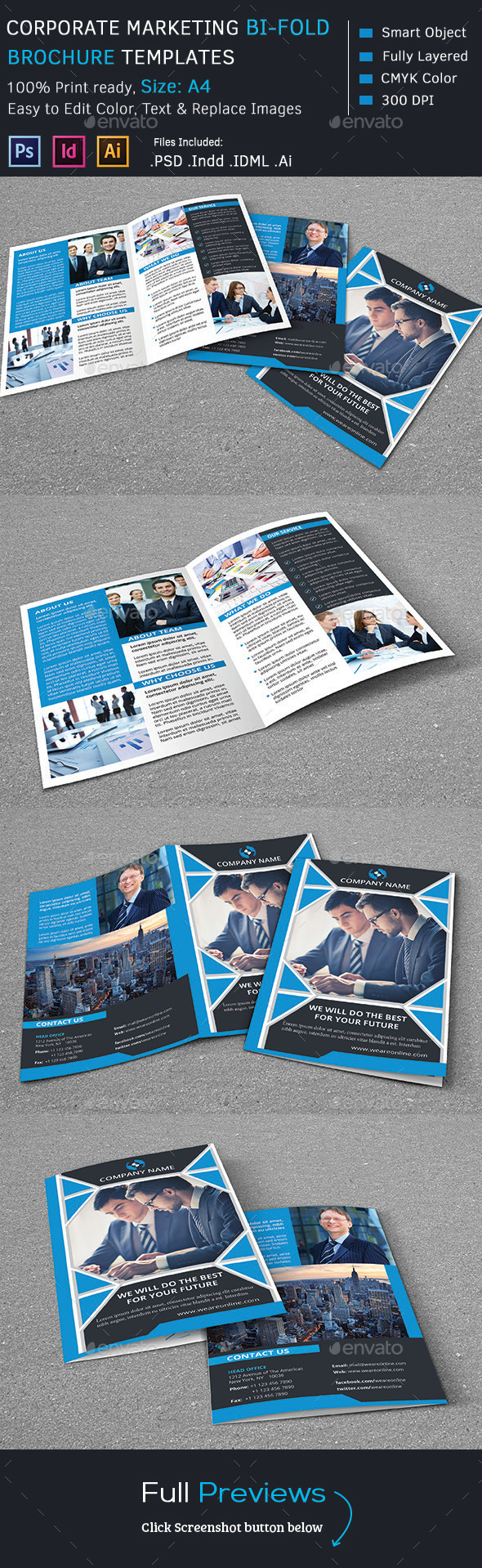 GraphicRiver Corporate Marketing Bi-Fold Brochure 9298986
