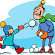 dad and son on winter cartoon - PhotoDune Item for Sale