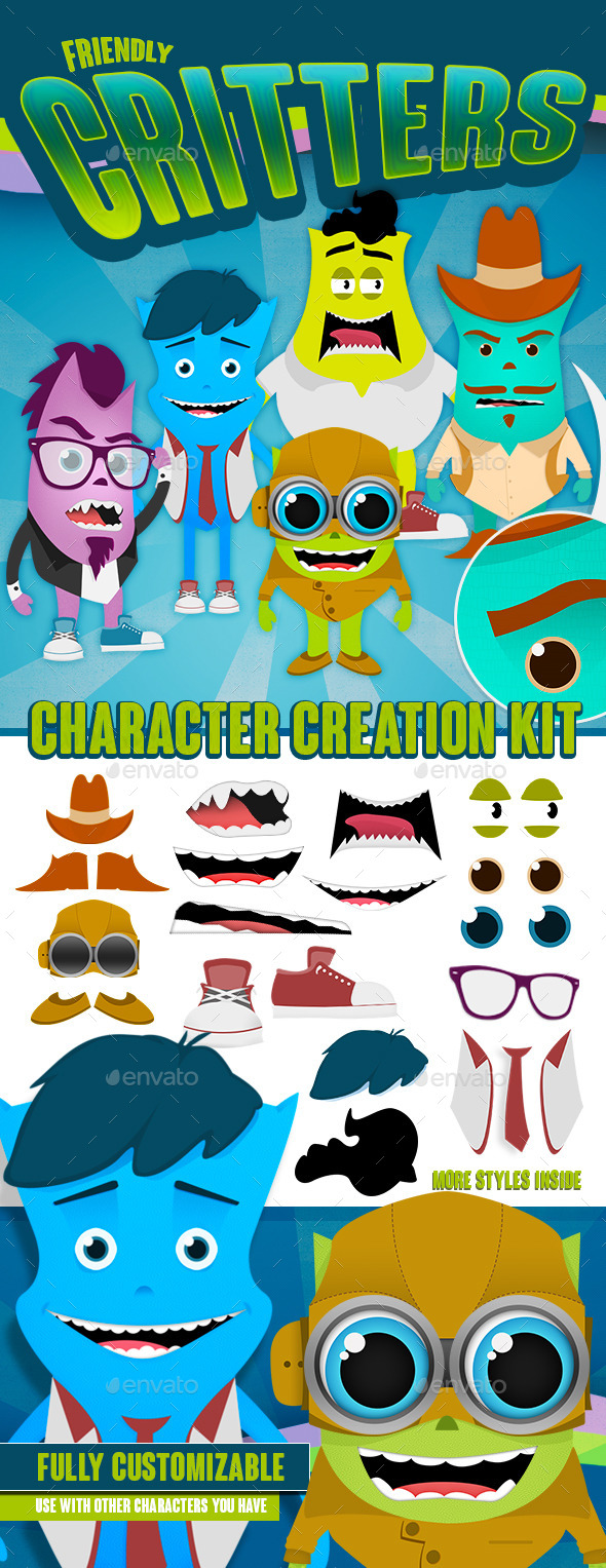 GraphicRiver Friendly Critters Character Creation Kit 9150787