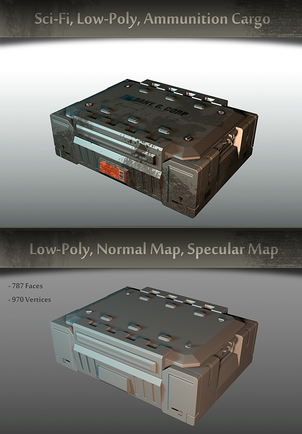 3DOcean Sci-fi Low-Poly Ammunition Cargo 9299445