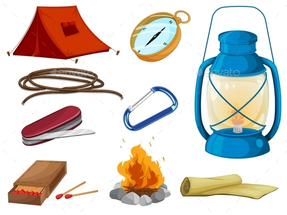 GraphicRiver Various Objects of Camping 9299720